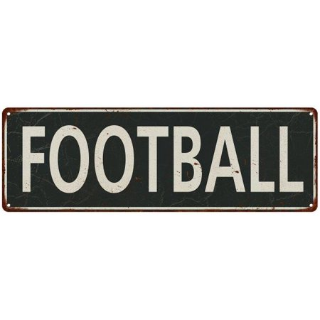 Football White on Black Vintage Look Metal Sign 6x18 Old Advertising Man Cave Game Room M6180665 ()