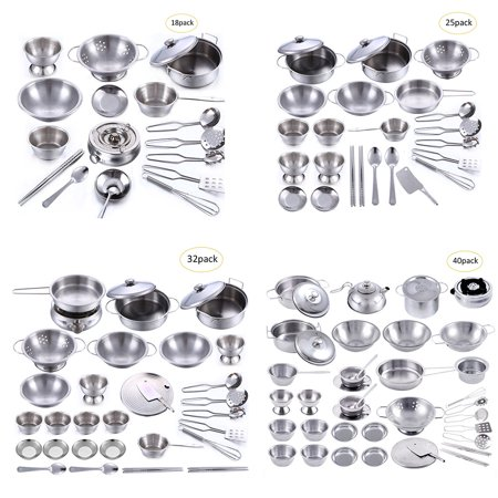 - 18PCS/25PCS/32PCS/40PCS Play House Toys Super Anti-fall Stainless Steel Boys and Girls Toys Children's Play House Kitchen Toy Sets