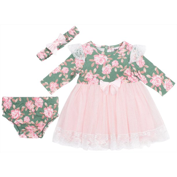 Little Lass Baby Girls 3-pc. Floral Lace Long Sleeve Dress 16W Short