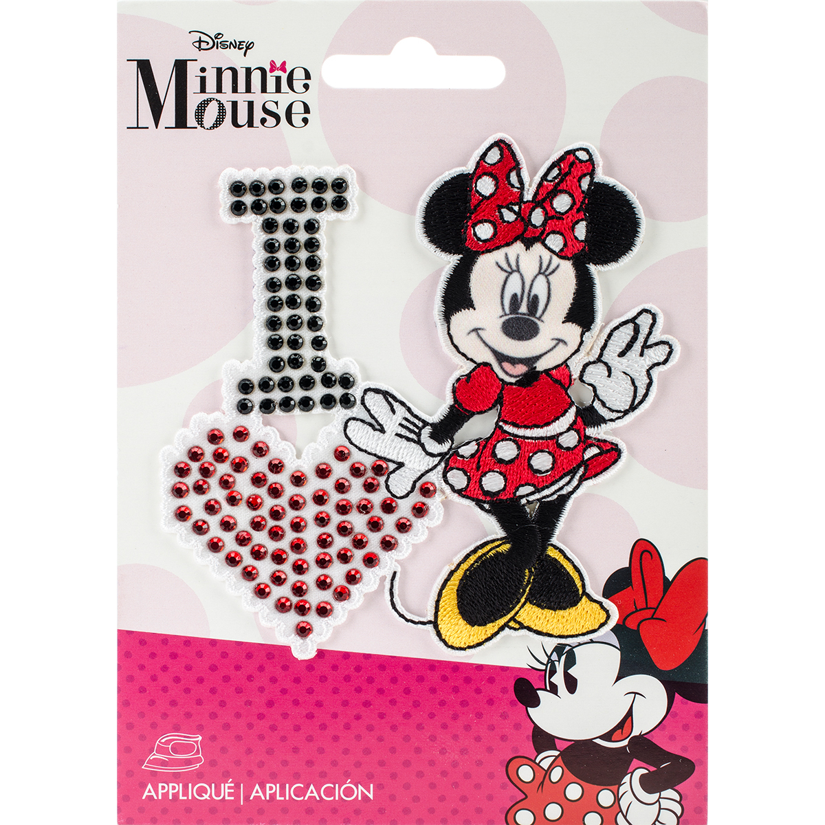 Disney Mickey Mouse Iron-On Applique, I Love Minnie
