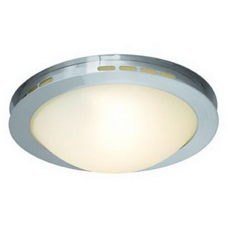 GHP 1-150Watt Halogen Brushed Steel Opal Glass Ceiling Mounted Light Fixture ()