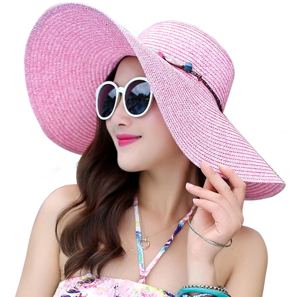 a578b1269 Women's Wide Brim Hat Summer Beach Sun Straw Cap Floppy Hats (Pink)