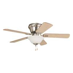 Wyman 42 In. Hugger Mount Ceiling Fan With Bowl Light, Brushed Nickel With Ash Or Walnut... by Litex Industries,Ltd/Ellington