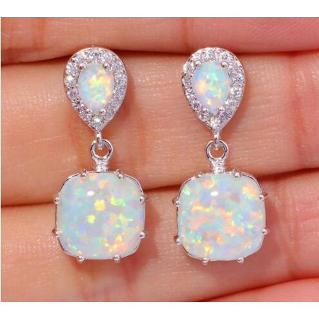 Women Lady Elegant Earrings Electroplated 925 Sterling Silver Artificial Opal (Date Tourmaline Earrings)