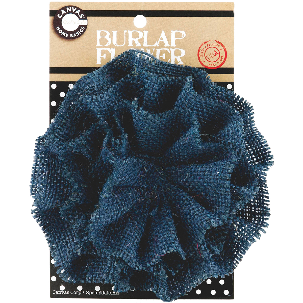 Burlap Flower-Dark Blue