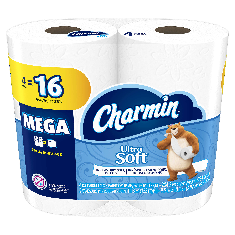 Charmin Ultra Soft Toilet Paper, 4 Mega Rolls