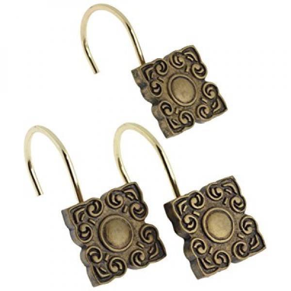 Carnation Home Fashions Bellport Ceramic Resin Shower Curtain Hook, Antique Gold