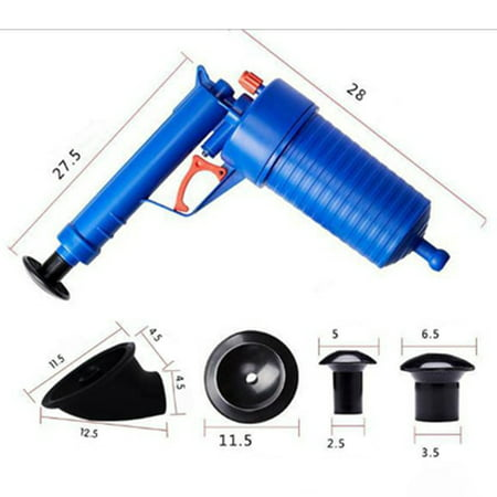 Toilets Bathroom High Pressure Air Drain Pump Plunger Sink Pipe Clog Remover Cleaner Kit - image 6 de 6