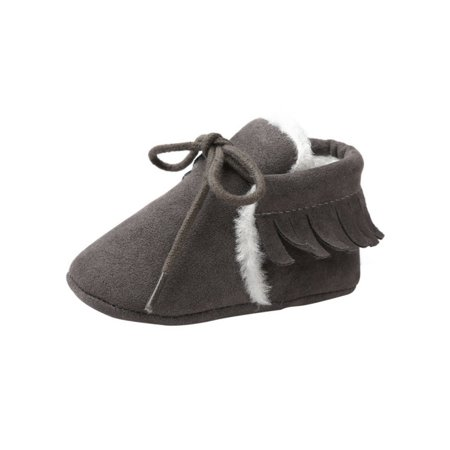 Lavaport Newborn Baby Boy Girl Moccasins Shoes Fringe Soft Soled PU Suede Non-slip Footwear Crib Shoes First Walker Bark Suede Footwear