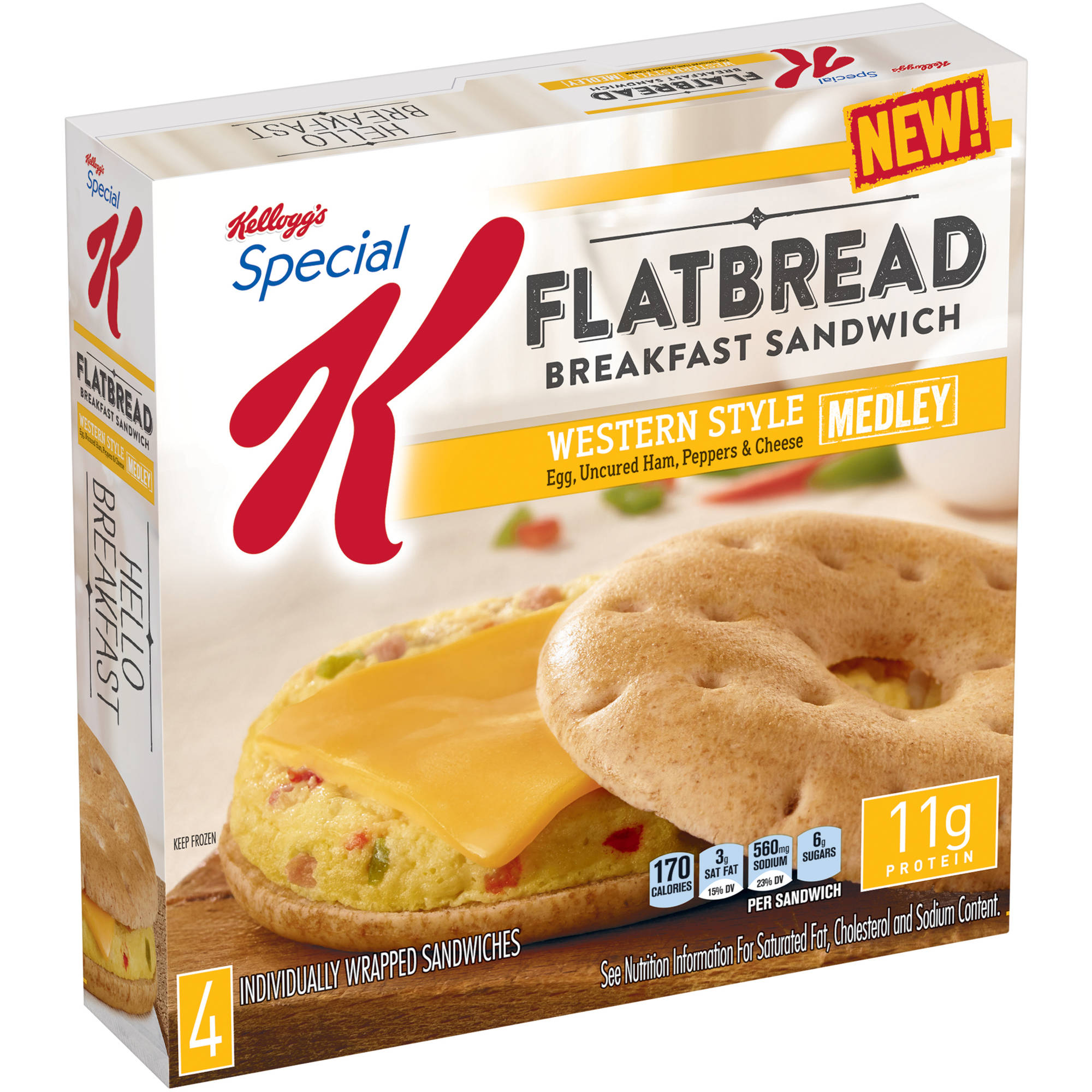 Kellogg's Special K Egg, Uncured Ham, Peppers & Cheese Medley Flatbread Breakfast Sandwiches, 4 count, 13.4 oz