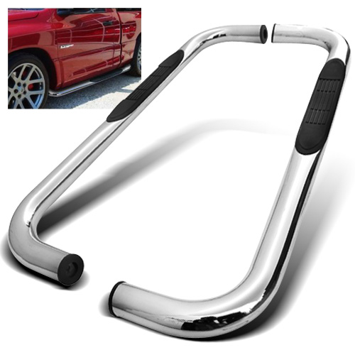 "Modifystreet 3"" Inches Stainless Steel Side Step Bar Nerf Bar Running Board for 02-08 Dodge Ram 1500/03-09 Dodge Ram 2500/3500 Regular Cab - Chrome"