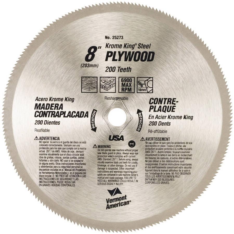 "Vermont American 25273 8"" Plywood Krome King Circular Saw Blades"