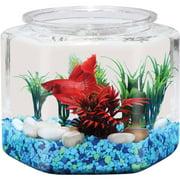 """Hawkeye 1 Gallon Fish Bowl Hex Shaped, Shatterproof Plastic, 7.8""""L x 7.8""""W x 8""""H"""