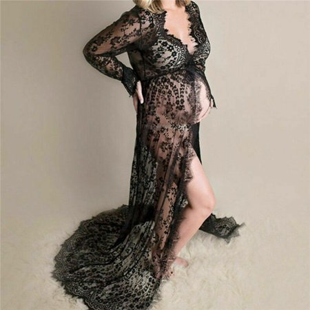 Pregnant Women's Lace Maternity Dress Maxi Gown Photography Photo Shoot Clothes Black S (Black Lace Maternity Dress)