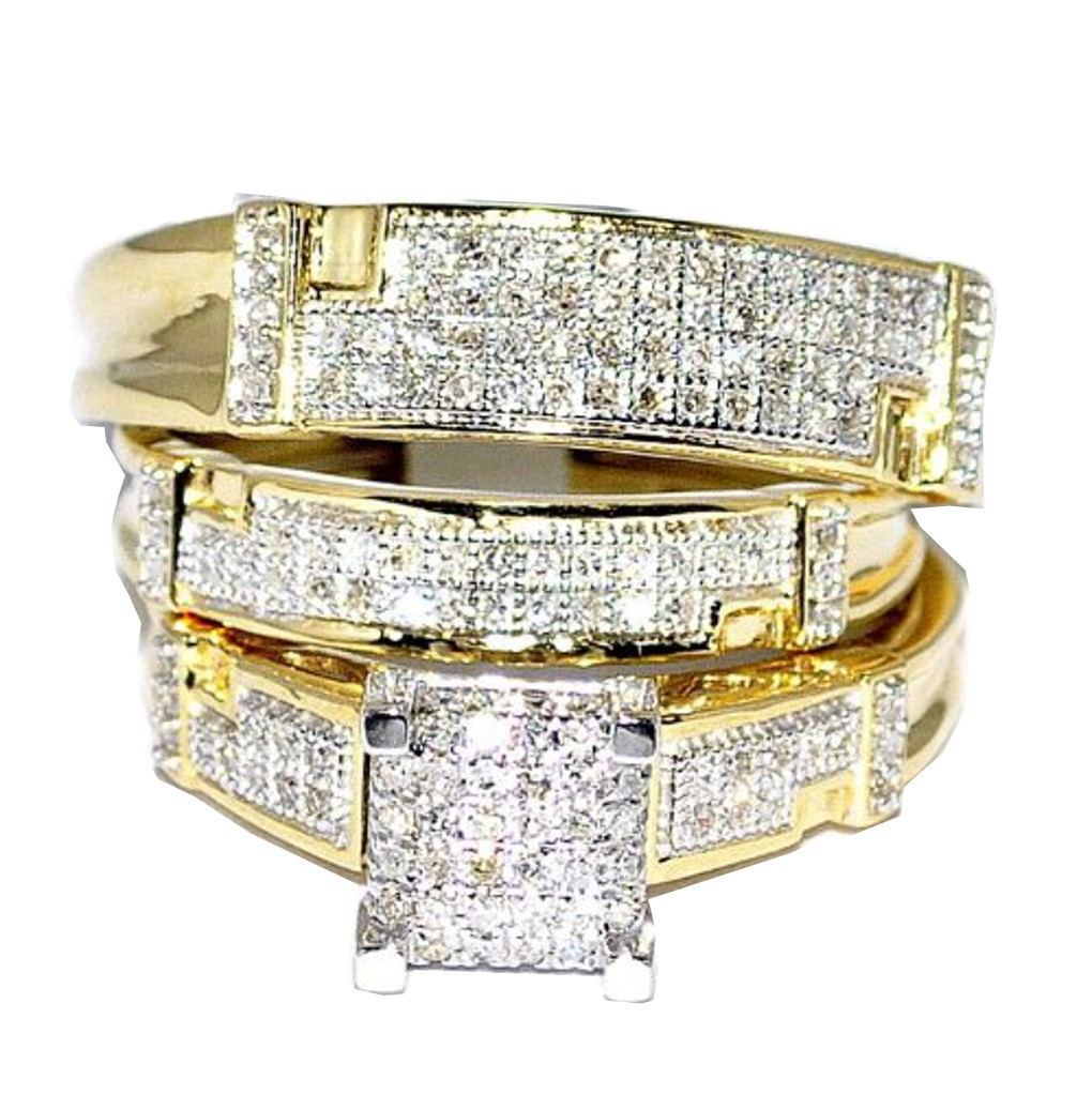Yellow Gold Trio Wedding Set Mens Women Rings Real 1 2cttw Diamonds Pave(I j Color 0.5cttw) by MidwestJewellery