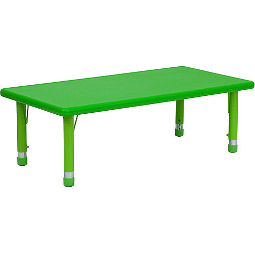 Adjustable Height Rectangular Plastic Activity Table, Green