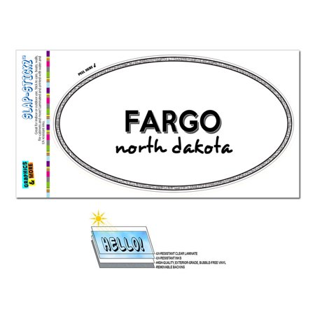 Fargo, ND - North Dakota - Black and White - City State - Oval Laminated Sticker - Party City Fargo Nd