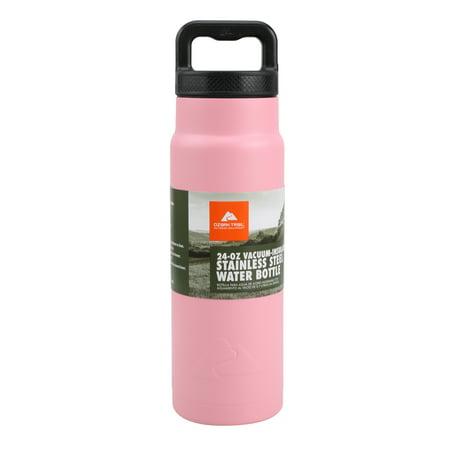 Ozark Trail 24-Ounce Double-wall Vacuum Sealed Stainless Steel Water Bottle, Pink Slim Stainless Steel Vacuum Bottle