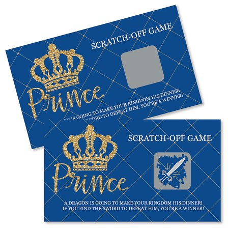 Royal Prince Charming - Baby Shower or Birthday Party Game Scratch Off Cards - 22 Count