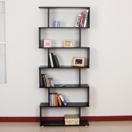 Wooden S Shape Bookcase 6 Shelves Storage Display Home Office Furniture - image 6 of 7