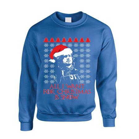 allntrends adult sweatshirt all i want for christmas is snow jon snow ugly xl royal blue walmartcom