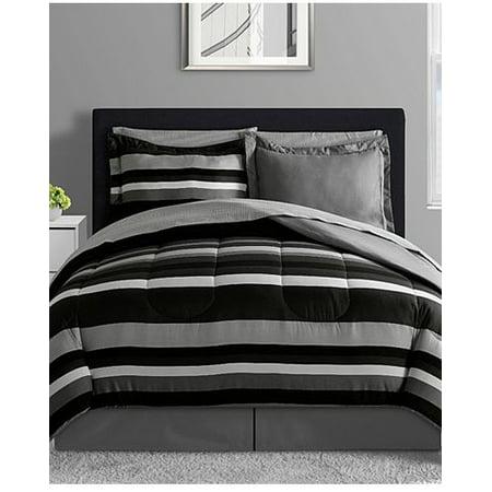 Black, Gray & White Teen Boys Reversible Stripe Twin Comforter Set (6 Piece Bed In A Bag) ()