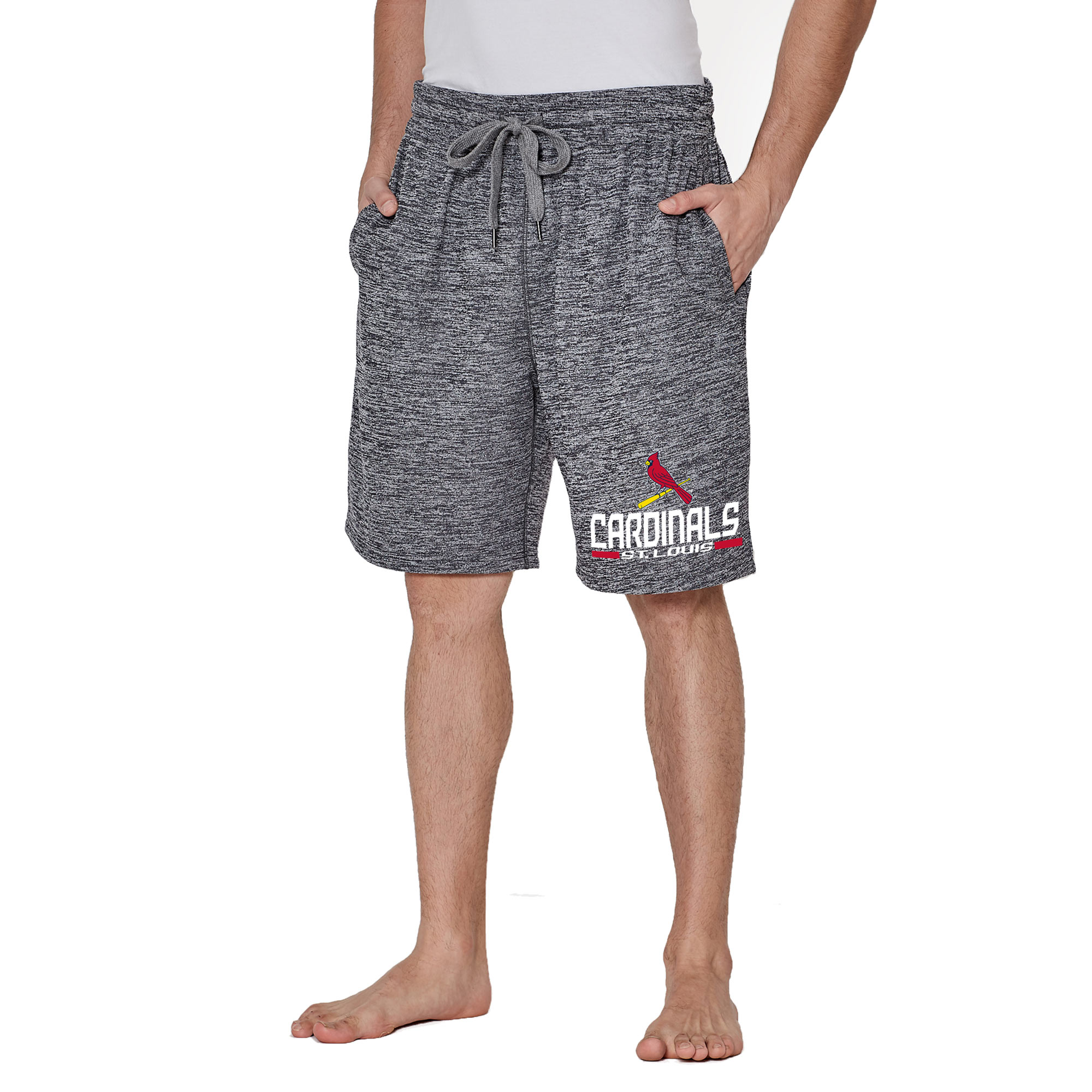Men's Concepts Sport Charcoal St. Louis Cardinals Handshake Fleece Jam Shorts