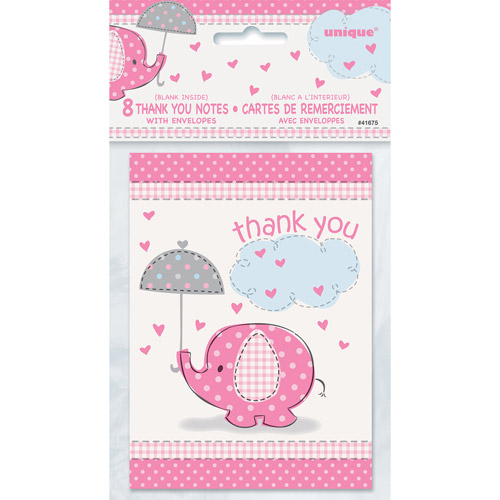 Pink Elephant Baby Shower Thank You Notes, 8pk