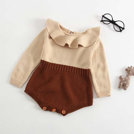 be197f5f9 Autumn Cute Infant Baby Girls Newborn Long Sleeve Jumpsuit Knitted ...