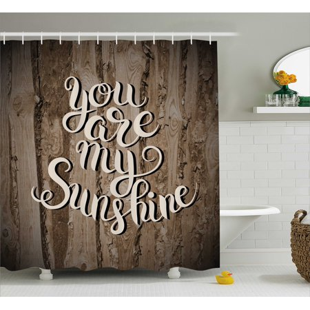 (Quote Shower Curtain, Romantic Positive Phrase on Rustic Oak Relationship Life Marriage Inspirational Concept, Fabric Bathroom Set with Hooks, Brown, by Ambesonne)