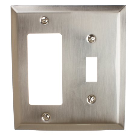 GlideRite Hardware Toggle Light Switch and Decora Rocker Beveled Wall Plate Cover, Brushed Nickel Ultralights Nickel Plate