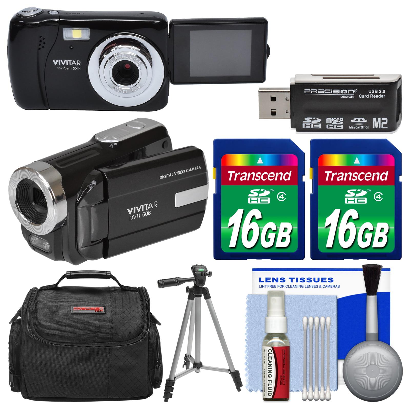 Vivitar ViviCam VXX14 Selfie Digital Camera & DVR-508 HD Camcorder (Black) with (2) 16GB Cards + Case + Tripod... by Vivitar