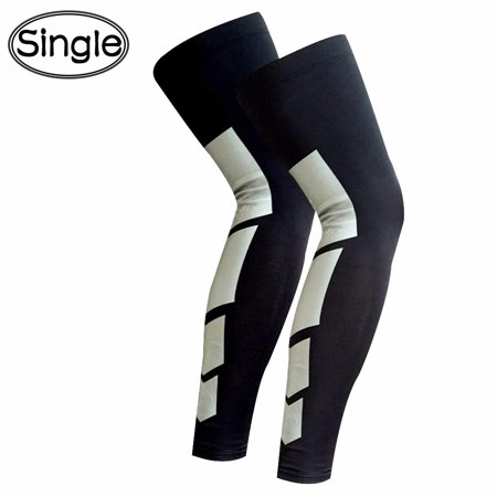 CFR Compression Leg Sleeves for Men Women - Full Length Stretch Long Sleeve with Knee Support Non-Slip Inner Bands Single ()