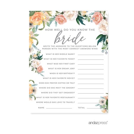 Peach Coral Floral Garden Party, How Well Do You Know the Bride?, Bridal Shower Game Cards, - Coral Bridal Shower Decorations