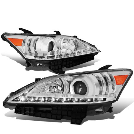 For 07-12 Lexus ES350 LED DRL Light Bar Projector Headlight Chrome Housing Headlamp 08 09 10 11 - Euro 1 Piece Chrome Headlights