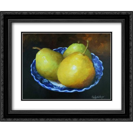 Long Blue Willow - Yellow Pears in Blue Willow Bowl 2x Matted 24x20 Black Ornate Framed Art Print by Wollenberg, Cheri