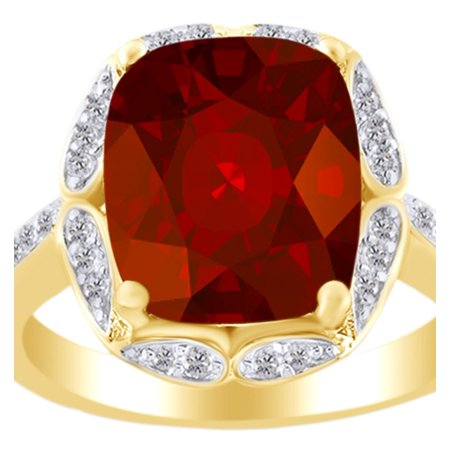 Cushion Cut Garnet Ring (5.50 Ct Cushion Cut Simulated Garnet & White Zirconia Engagement Ring in 14k Yellow Gold Over Sterling Silver Ring Size -)