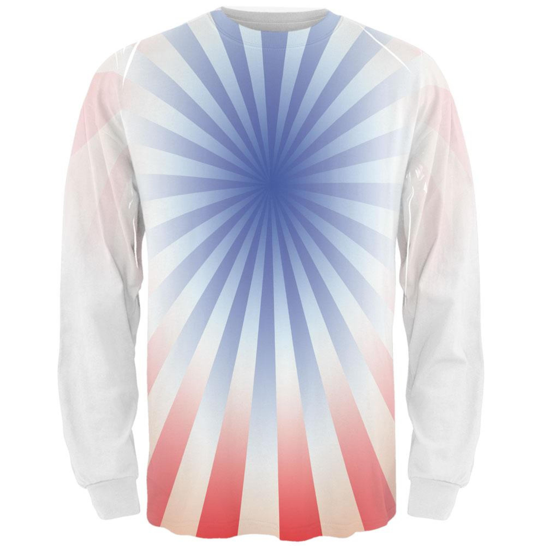 Patriot Blue Starburst All Over Adult Long Sleeve T-Shirt