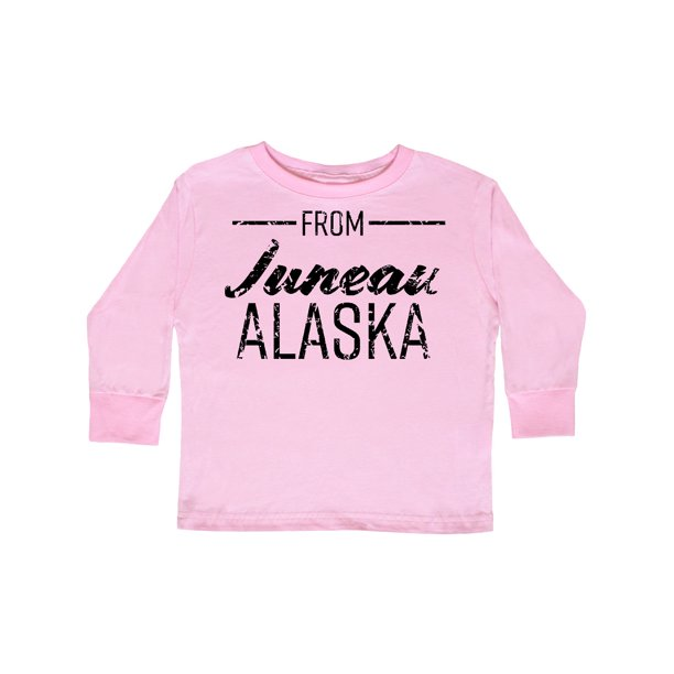 From Juneau Alaska in Black Distressed Text Toddler Long Sleeve T-Shirt