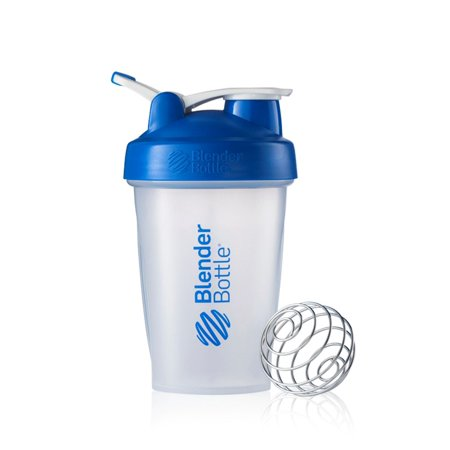 BlenderBottle 20oz Classic Shaker Cup with Wire Whisk BlenderBall and Carrying Loop, Full Color White/Blue (Thrive Blender Bottle)