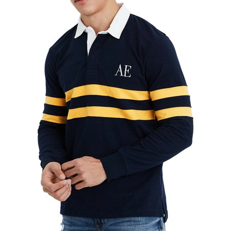 American Eagle Rugby (New  American Eagle Mens Long Sleeve Rugby Shirt, Navy L)