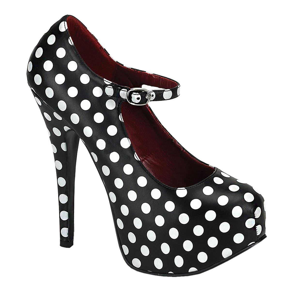 Bordello Womens Polka Dot Mary Jane Pumps Black Red Class...