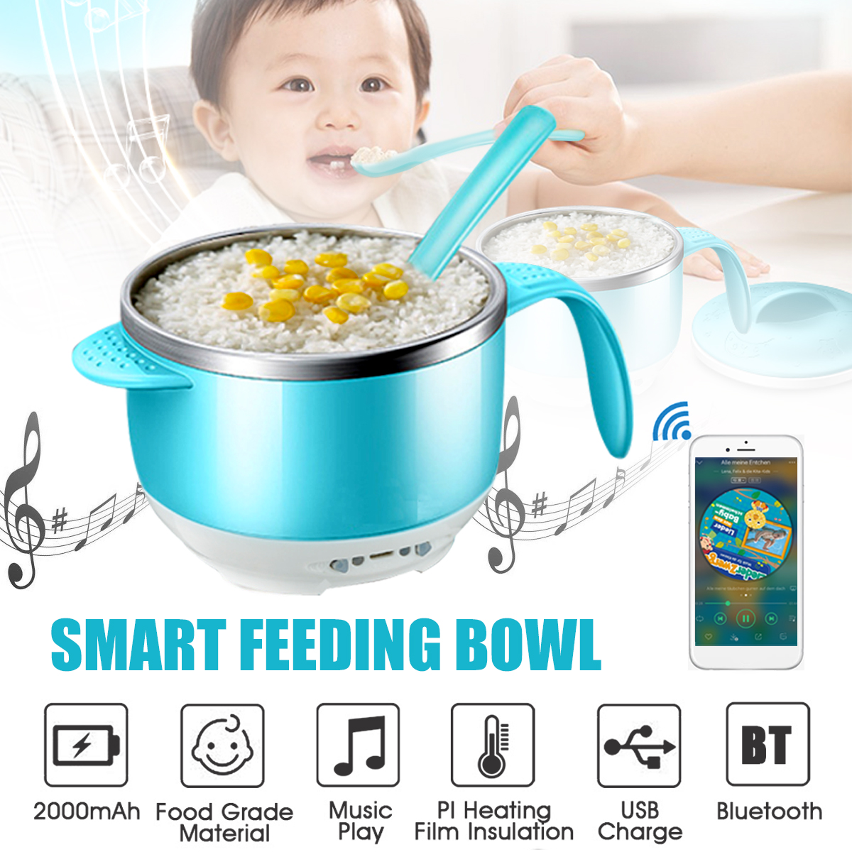 AUGIENB Baby Kid Feeding Insulated Bowl BPA Free Heat-sensing Spoon USB Charge by AUGIENB