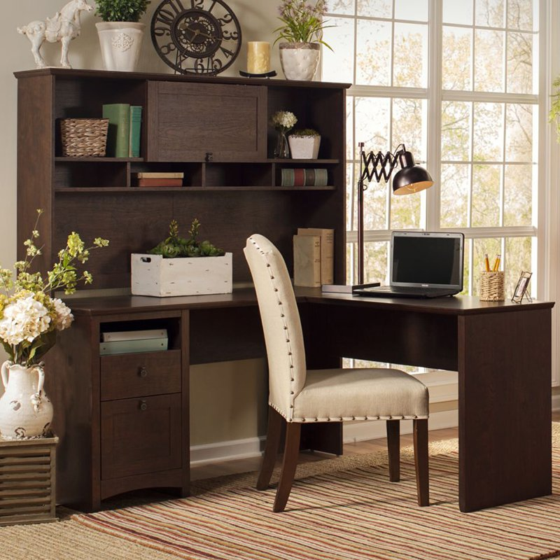 Bush Furniture Buena Vista 60 in. L-Shaped Desk with Hutch - Madison Cherry
