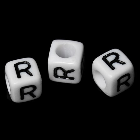"100 Letter ""R"" Black on White Acrylic Alphabet Cube Spacer, Loose Beads, 6mm 1/4 inch"