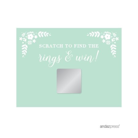 Floral Mint Green Wedding Bridal Shower Game Scratch Cards, 30-Pack for $<!---->