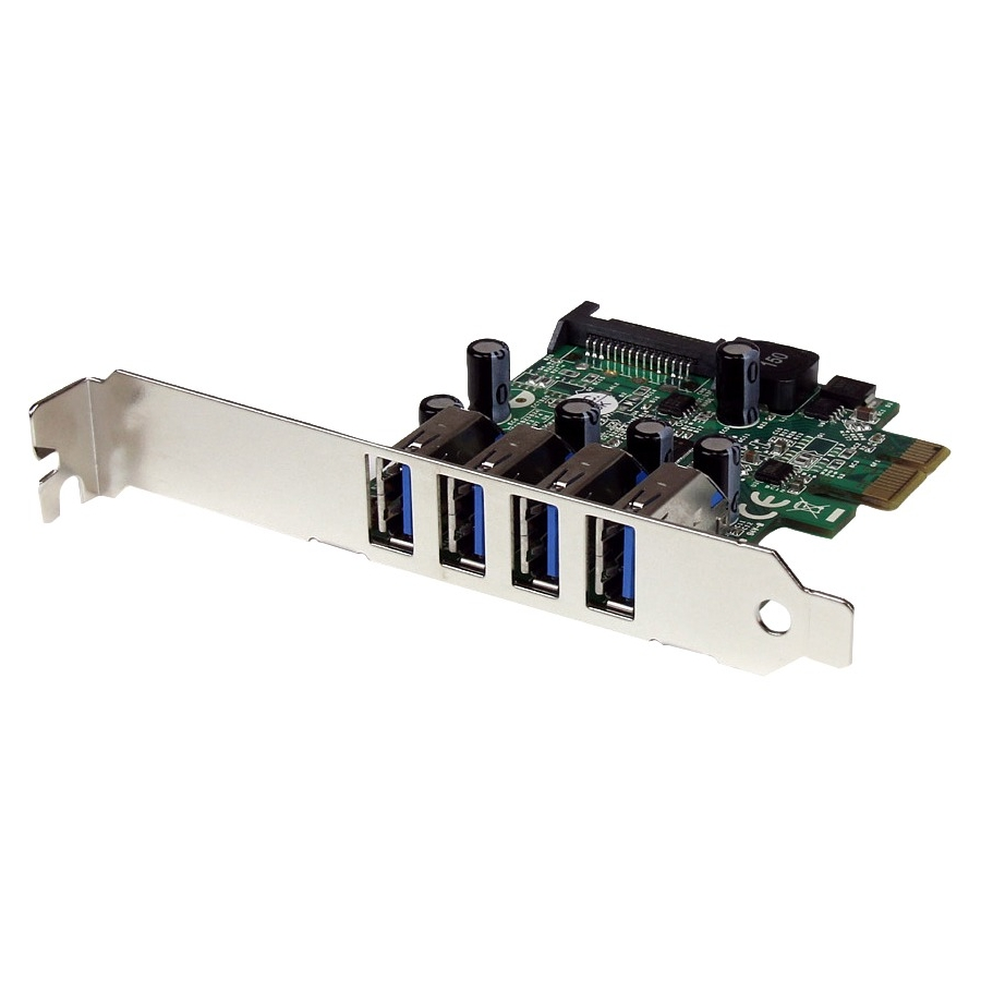 StarTech 4-Port PCI Express PCIe SuperSpeed USB 3.0 Controller Card Adapter with SATA Power