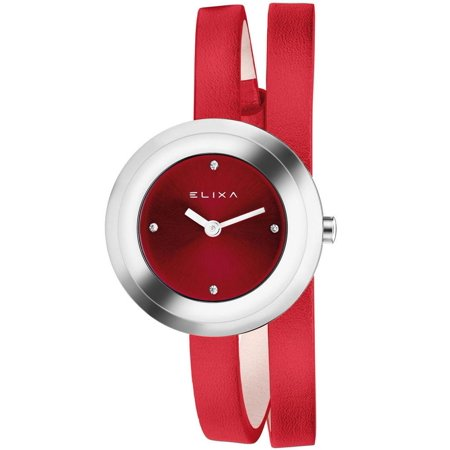 - E092-L347 Red Double Wrap Leather Strap Women's Watch