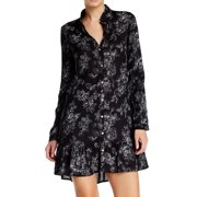 Wild Pearl NEW Juniors Large L Black Floral Print Buttoned Peplum Hem Dress