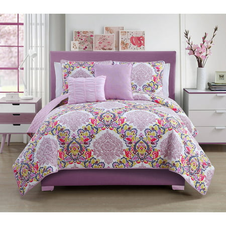 DISCONTINUED VCNY Dolce Vita Multi-Colored Floral Medallion Bedding Quilt Set, Decorative Pillows Included